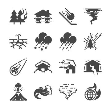 Disaster icons set