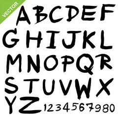 Capital alphabet brush vector