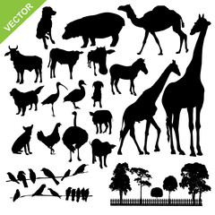 Aniaml and farm silhouette vector
