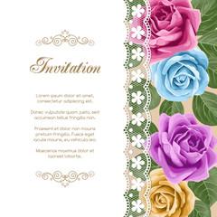 Vintage floral invitation template