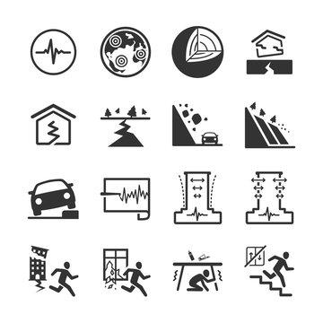Earthquake and geology icons