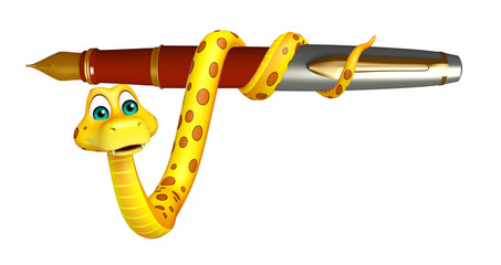 cute Snake cartoon character  with pen