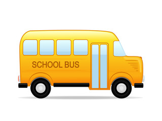 Vector illustration of a yellow school bus.