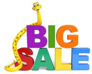 Snake cartoon character with  bigsale sign