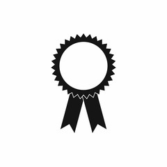 Blank award rosette with ribbon icon, simple style