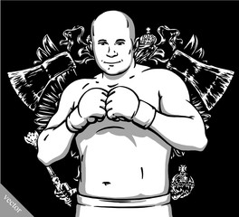funny cartoon cool MMA fighter illustration