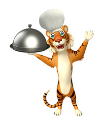 cuteTiger cartoon character  with chef hat and cloche