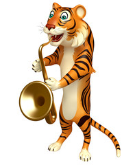 cute Tiger cartoon character with saxophone
