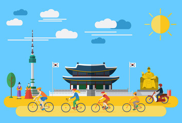 Flat design, Illustration of happy family riding bicycles in South Korea