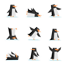 Isolated penguin cartoon flat style in action set