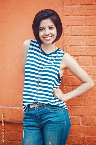 """Portrait Of Beautiful Smiling Young Latin Hispanic Girl"