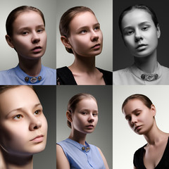 Collage of different girl portrait.