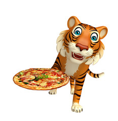 Tiger cartoon character with pizza