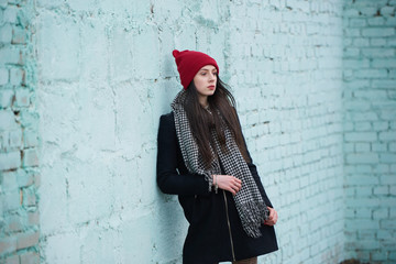 young beautiful girl with red hat