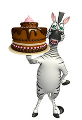 cute Zebra cartoon character with cake