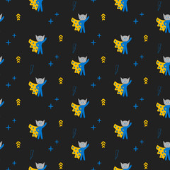 Superhero in cape with stars seamless boy kid pattern. Hero in mask black and yellow pattern for baby textile prints.