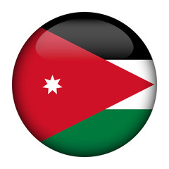 Round glossy Button with flag of Jordan