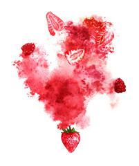 Juicy berries and red splash on white background. Hand-painted watercolor illustration