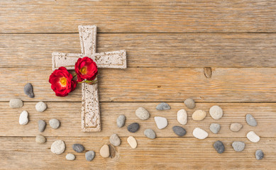 Kreuz Rose Trauer Tod Kondolenz Anteilnahme