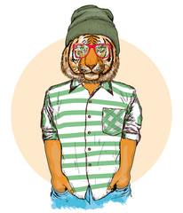 Hipster animals, portrait of fashion tiger