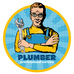 Plumber with wrench pop art vector