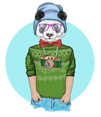 Portrait of fashion panda wearing a hat