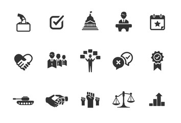 A set of political icons in black and white.
