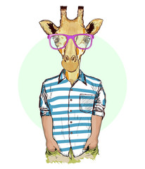 Hipster animals, portrait of fashion giraffe