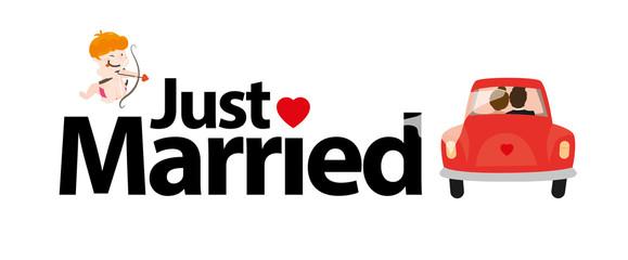 Just Married mit Amor und Brautpaar - Flitterwochen Vektor