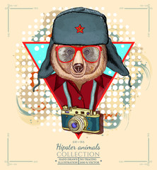 Portrait of fashion bear, hipster animals hand drawn