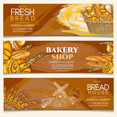 Bakery banner, bakery shop, bakery basket, fresh bread