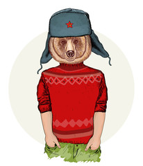 Hipster animals, portrait of fashion bear, fashion illustration