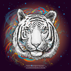 White tiger in outer space art print hand drawn animal