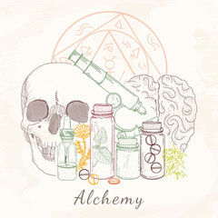 Alchemy skull microscope medieval science