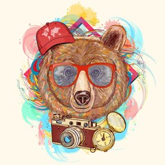 Bear hipster art print hand drawn animal