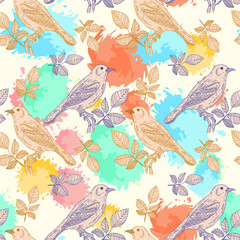 Birds seamless pattern watercolor splashes