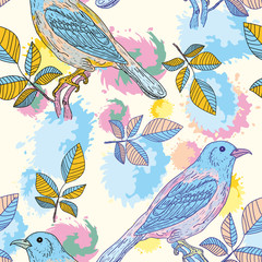 Colored birds seamless pattern
