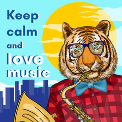 Hipster animals, tiger plays the saxophone