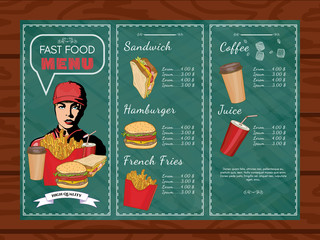 Fast food menu hand drawn illustration