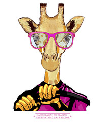 Giraffe driving a car hipster animals fashion illustration