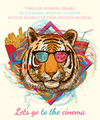Portrait of hipster tiger. Movies and cinema hand drawn vector