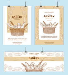 Bakery shop, bread basket signage template hand drawn