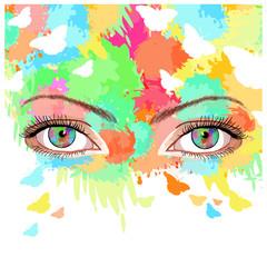 Woman art, beautiful female eyes on a bright summer background