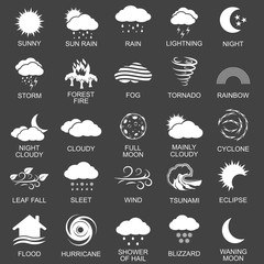 Natural disaster icons set