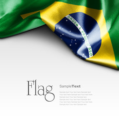 Flag of Brazil on white background. Sample text.