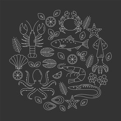 Seafood vector flat line icons set. Vector illustrations of lobster, crab, salmon, fish, squid, oyster, shrimp, octopus, eel. Seafood menu background. Fresh seafood restaurant illustration.