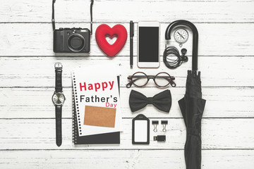 Father's Day concept, Flat lay photography of essentials busines