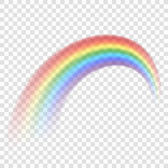Rainbow icon. Shape arch realistic, isolated on transparent background. Colorful light and bright design element for decorative. Symbol of rain, sky, clear, nature. Graphic object. Vector illustration