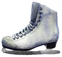 watercolor sketch skates on a white background