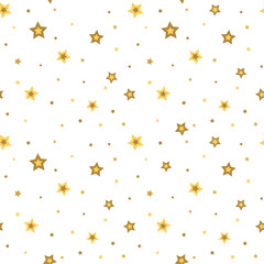 Stars seamless pattern gold and white retro background. Chaotic elements. Abstract geometric shape texture. 3d effect sky. Design template for wallpaper, wrapping, fabric, textile. Vector Illustration